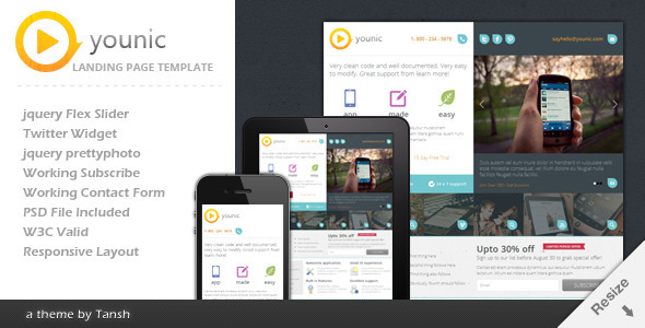 Younic Landing Page Template